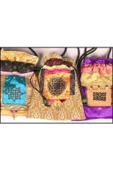 <h5>Drawstring Bags</h5><p>With cultural motifs and handmade cord knobs.</p>